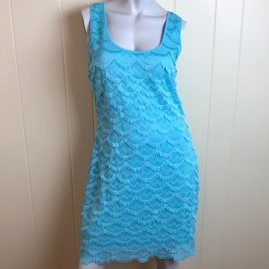 Guess Aqua Blue Flapper Style Dress